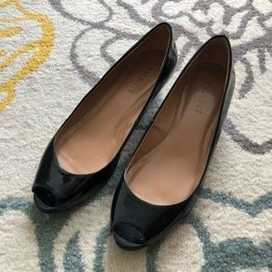Talbots Black Patent Leather Wedge Shoes